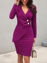 Офисное платье с длинным рукавом