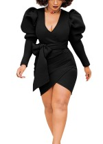 Sexy Black Wrap Dress with Pop Sleeves