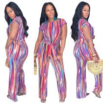 Camisa de manga corta con rayas multicolor y pantalones