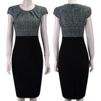 Print Office-jurk met kapmouwtjes