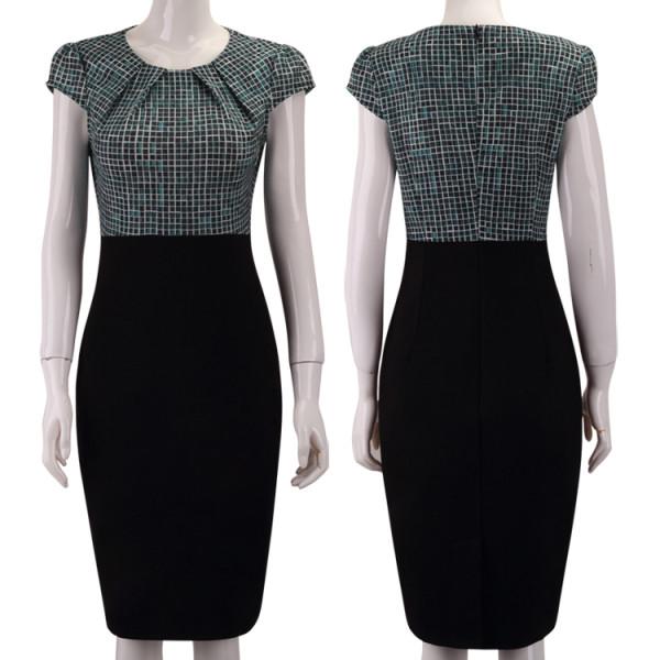 Vestido de oficina estampado con mangas
