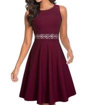 Ärmelloses Vintage-Kleid mit Spitzenbesatz