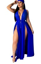 Ärmelloses, langärmliges Kleid mit aufgeteilten Seiten