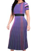 Mehrfarbige Streifen Langes Kleid mit kurzen Ärmeln