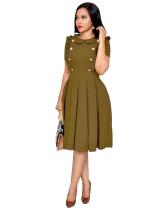 Kurze Ärmel plissiert Vintage Kleid