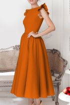 Plain Color Vintage Dress with Ruffle Cuffs