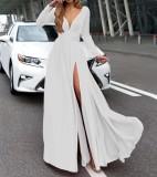 High Cut Sexy Langarm V-Ausschnitt Abendkleid