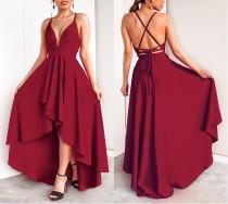 Rote Träger High Low Abendkleid