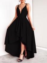 Schwarze Träger High Low Abendkleid