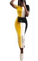 Contraste de manga corta que adelgaza el vestido