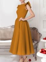 Vestido vintage de color liso con puños con volantes