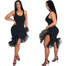 Schwarzes ärmelloses Meerjungfrau-Partykleid