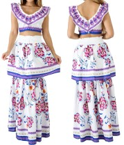 two pieces crop top and long skirt set