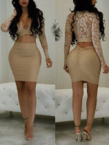 Sexy Lace Crop Top and Scrunch Skirt