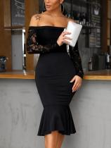 Off Shoulder Black Mermaid Dress with Lace Sleeves