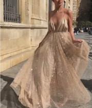 Sexy und schicke Pailletten Träger Abendkleid