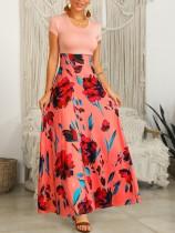 Short Sleeve Flower Maxi Dress