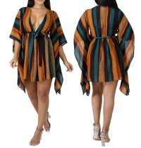 vestido de abrigo holgado multicolor
