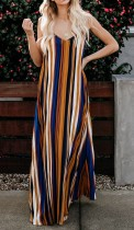 Colorful Stripped Straps Long Dress