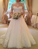 Vestido de boda de manga larga de encaje blanco