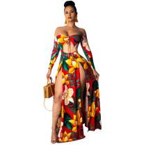 Trägerloses langes Kleid mit hohem Schnitt