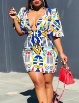 Figurbetontes Kleid im Retro-Stil mit Print