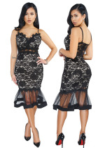 Black Lace Straps Mermaid Party Dress