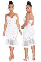 Weiße Spitze Riemen Meerjungfrau Partykleid