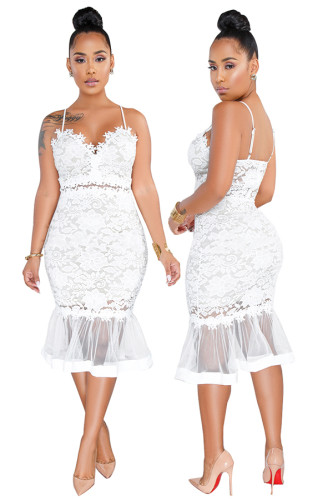 Robe de soirée sirène en dentelle blanche