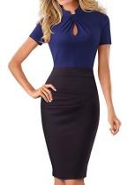Контрастное офисное платье с короткими рукавами