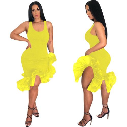 Robe de soirée sirène jaune sans manches