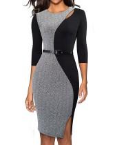 Tweekleurige kleur slim fit jurk met split aan de zijkant