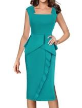 Effen kleur mouwloze slanke fit straped jurk
