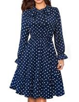 Langarm-Polka Dot-Kleid mit Schleife