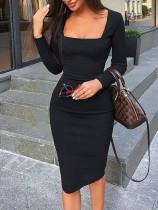 Siyah Uzun Kollu Kare Yaka Slim Fit Elbise