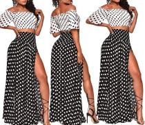 Vestido largo de dos piezas en blanco y negro