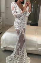 White Lace Plung Mermaid Eveing Dress