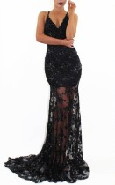 Sequins Black Straps Mermaid Evening Dress