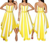 Breite Stripped Straps Unregelmäßiges Langes Kleid
