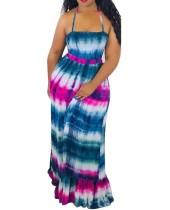 Sexy bunte Riemen langes Kleid
