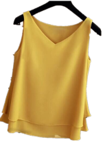 Blusa sin mangas con cuello en V de doble capa