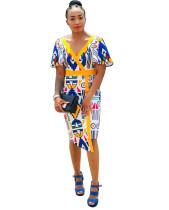 Vestido retro de manga corta con cuello en V a media pierna