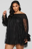Off Shoulder Black Loose Top with Ruffle Cuffs