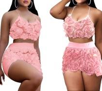 Sexy bloemenhalter crop top en shorts