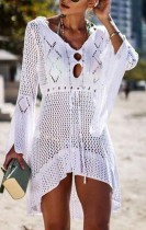 Long Sleeves Crochet High Low Beach Dress
