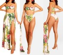Zweiteilige Floral Bandeau Bademode und Cover Ups