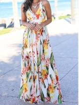 Bandjes bloemen lange chiffon jurk