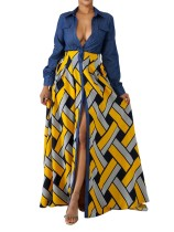 Top-to-Toe Bottoned manga comprida Imprimir vestido Maxi