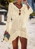 Abito da spiaggia a maniche lunghe all'uncinetto a maniche lunghe