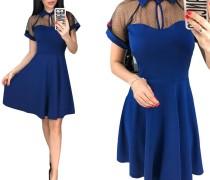 Blaues, schickes Skaterkleid aus Mesh